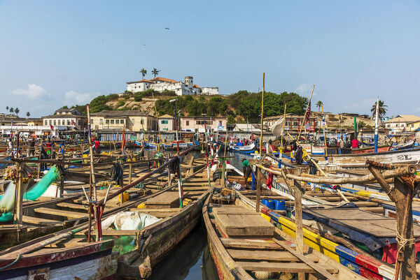 Africa, Ghana, Elmina harbour. traditional wooden fishing boats
