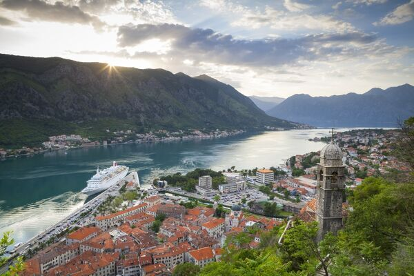 Elevated view over Kotor's Stari Grad (Old Town) and The Bay of Kotor, Kotor, Montenegro