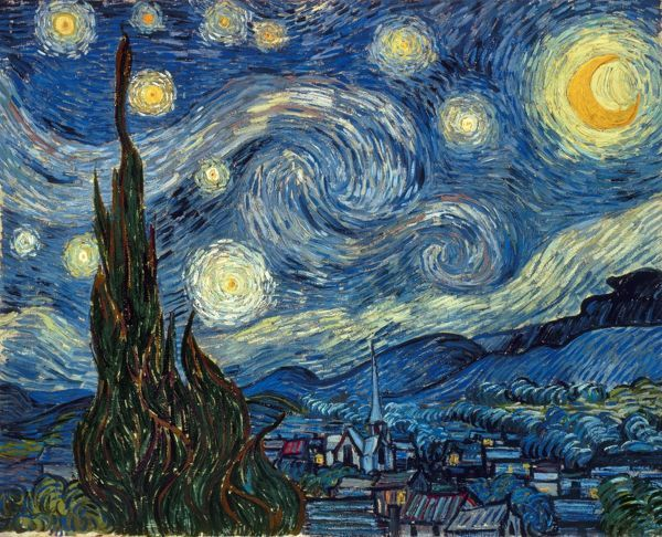 VAN GOGH: STARRY NIGHT. The Starry Night. Oil on canvas by Vincent Van Gogh, 1889