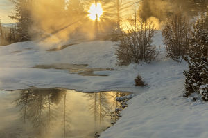 usa/sunrise greets grassy spring mammoth hot springs