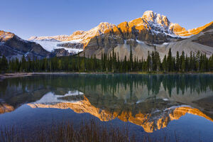 nature landscapes/bow lake crowfoot mountain sunrise banff national
